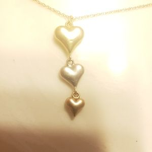 10kt yellow, white, and rose gold hearts charm